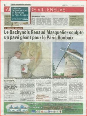 Le Bachynois Renaud Masquelier sculpte un pavé géant pour le Paris Roubaix.
